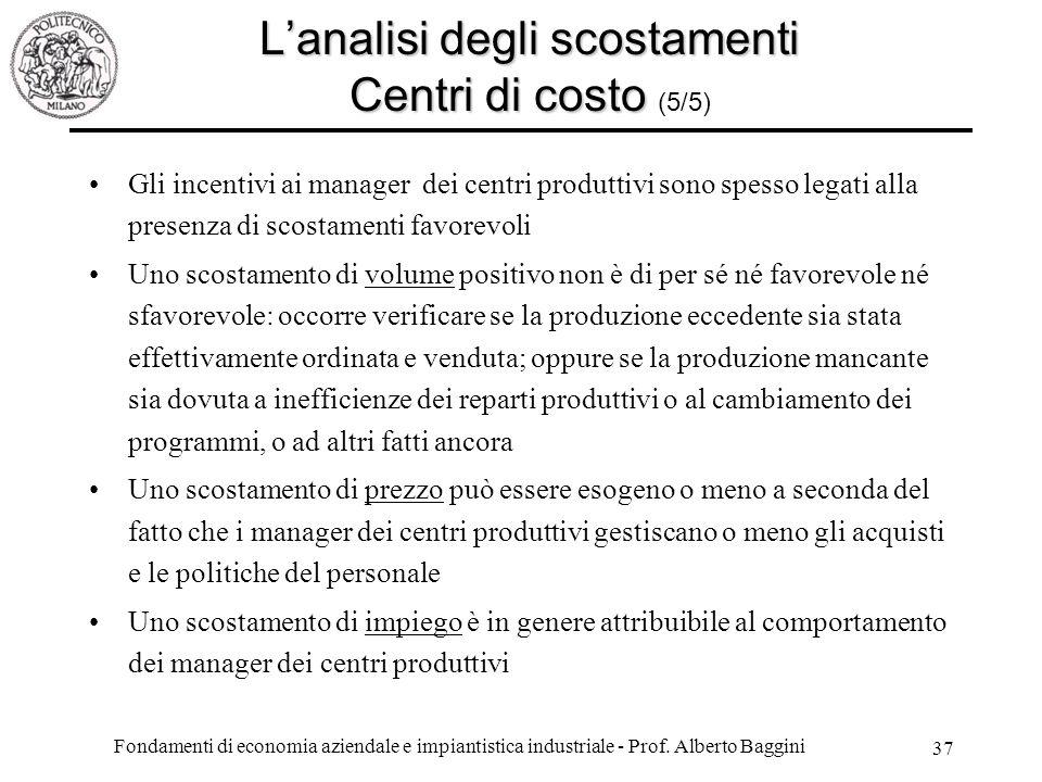 Fondamenti di economia aziendale e impiantistica industriale - Prof.