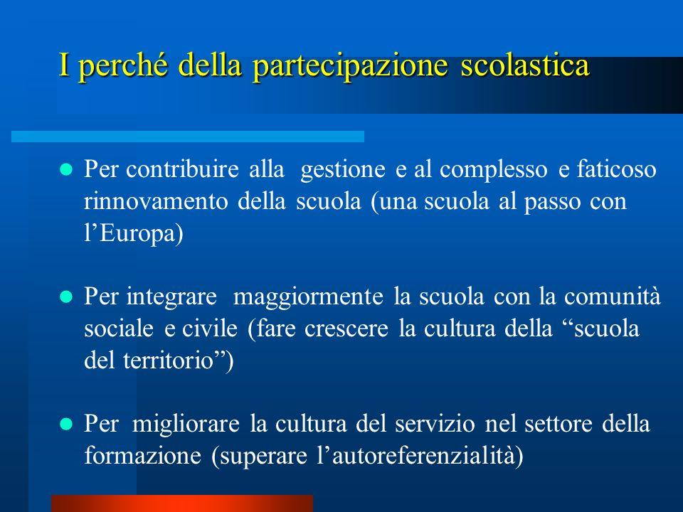 Per contribuire alla gestione e al complesso e faticoso rinnovamento della scuola (una scuola al passo con lEuropa) Per integrare maggiormente la scuo