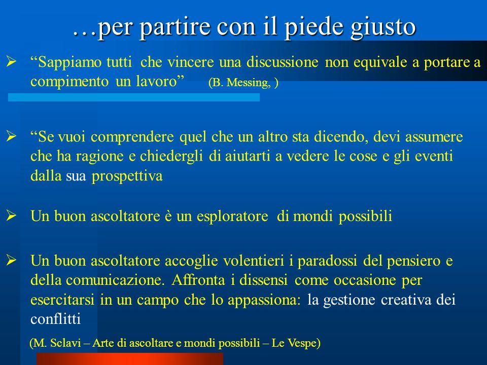 …per partire con il piede giusto Sappiamo tutti che vincere una discussione non equivale a portare a compimento un lavoro (B. Messing, ) Se vuoi compr