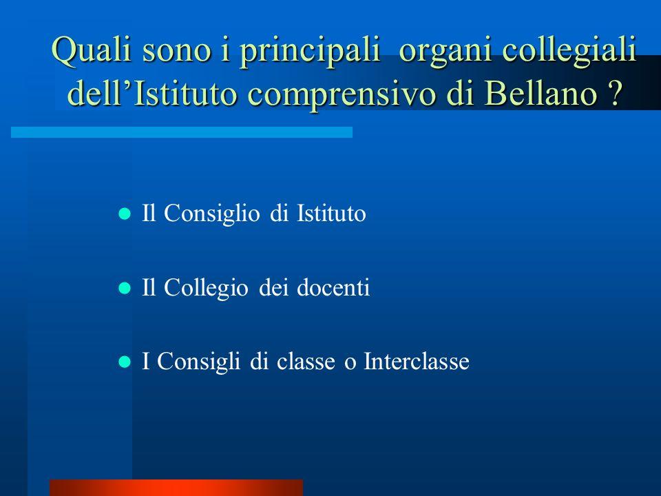 Il Consiglio di Istituto Il Collegio dei docenti I Consigli di classe o Interclasse Quali sono i principali organi collegiali dellIstituto comprensivo