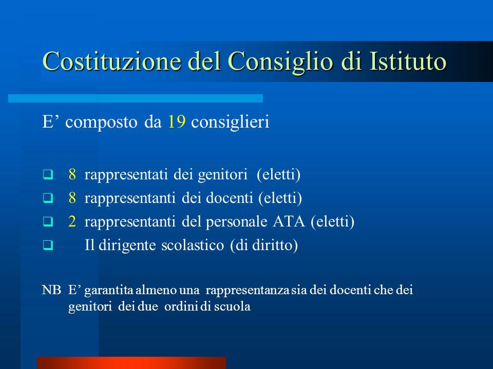 Costituzione del Consiglio di Istituto E composto da 19 consiglieri 8 rappresentati dei genitori (eletti) 8 rappresentanti dei docenti (eletti) 2 rapp