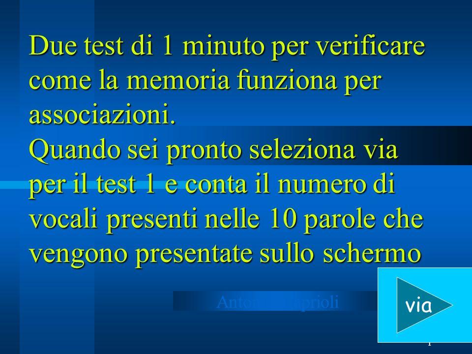 1 Due test di 1 minuto per verificare come la memoria funziona per associazioni.