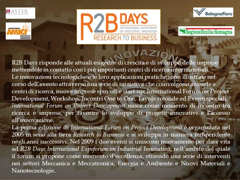 R2B Days risponde alle attuali esigenze di crescita e di sviluppo delle imprese mettendole in contatto con i più importanti centri di ricerca internaz