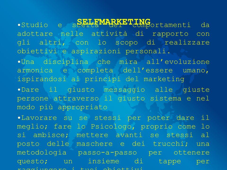 SELFMARKETING Studio e scelta dei comportamenti da adottare nelle attività di rapporto con gli altri, con lo scopo di realizzare obiettivi e aspirazioni personali.