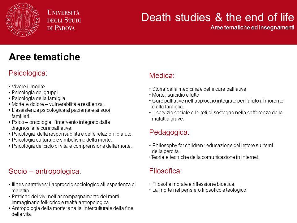 , Death Studies & the end of life Organizzazione del corso Frequenza Obbligatoria 70,00 % Frequenza Le lezioni in presenza (214 ore), organizzate a moduli tematici, vengono svolte durante la settimana tra il mercoledì e il sabato, nellarco dellanno.