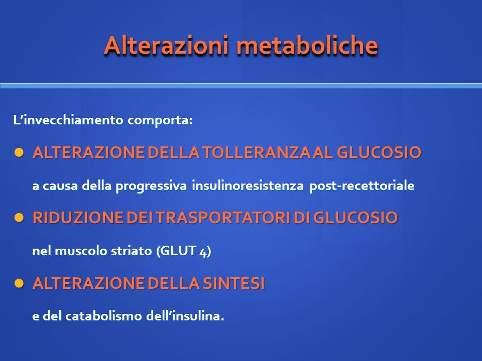 Alterazioni metaboliche Linvecchiamento comporta: ALTERAZIONE DELLA TOLLERANZA AL GLUCOSIO ALTERAZIONE DELLA TOLLERANZA AL GLUCOSIO a causa della prog