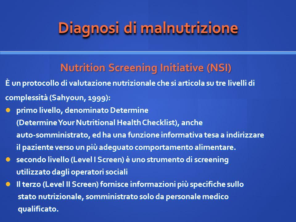 Diagnosi di malnutrizione Nutrition Screening Initiative (NSI) Nutrition Screening Initiative (NSI) È un protocollo di valutazione nutrizionale che si