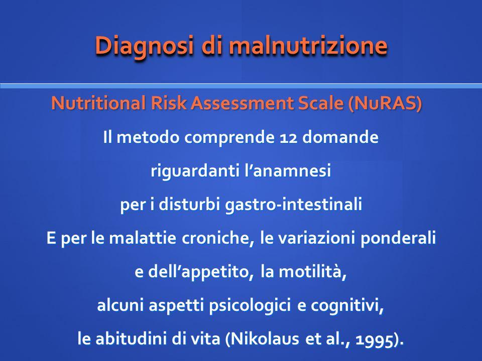 Diagnosi di malnutrizione Nutritional Risk Assessment Scale (NuRAS) Nutritional Risk Assessment Scale (NuRAS) Il metodo comprende 12 domande riguardan