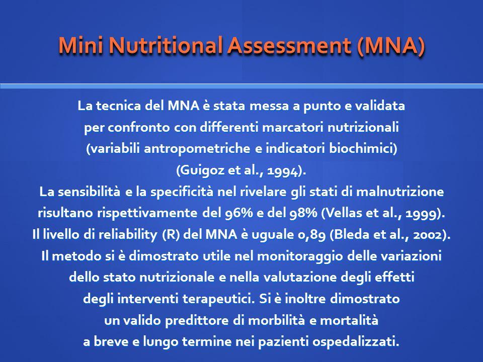 Mini Nutritional Assessment (MNA) La tecnica del MNA è stata messa a punto e validata per confronto con differenti marcatori nutrizionali (variabili a