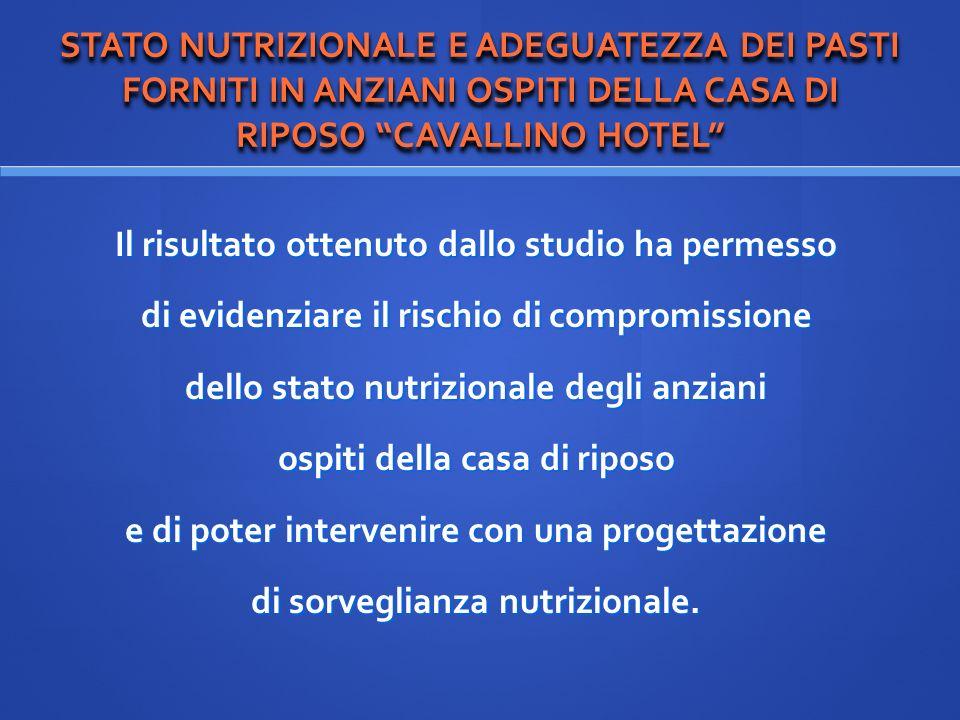 STATO NUTRIZIONALE E ADEGUATEZZA DEI PASTI FORNITI IN ANZIANI OSPITI DELLA CASA DI RIPOSO CAVALLINO HOTEL Il risultato ottenuto dallo studio ha permes