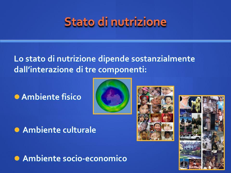Stato di nutrizione Ambiente culturale Ambiente culturale Lo stato di nutrizione dipende sostanzialmente dallinterazione di tre componenti: Ambiente s