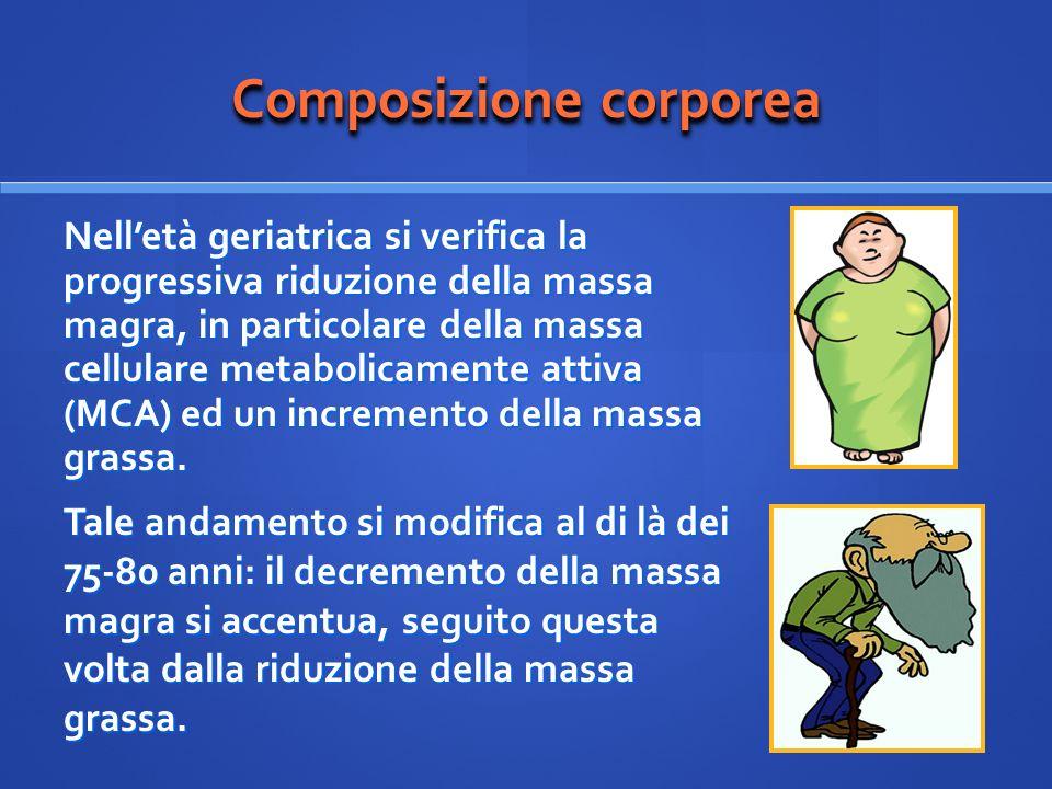 Composizione corporea Nelletà geriatrica si verifica la progressiva riduzione della massa magra, in particolare della massa cellulare metabolicamente