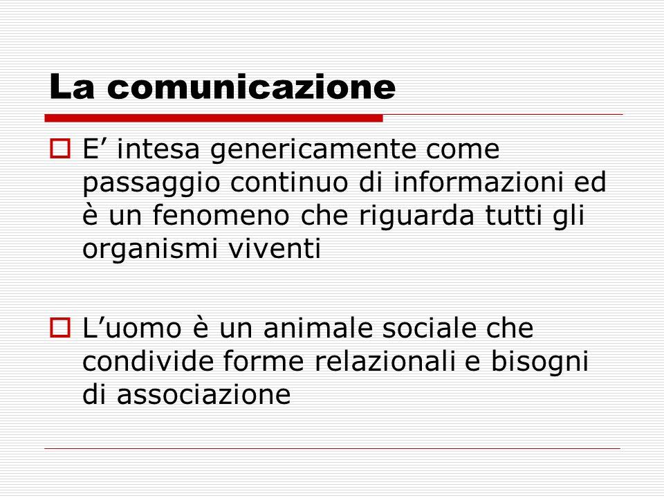 La comunicazione E intesa genericamente come passaggio continuo di informazioni ed è un fenomeno che riguarda tutti gli organismi viventi Luomo è un a