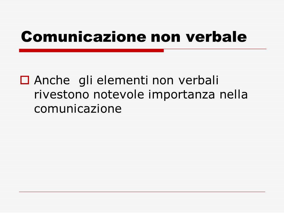 Comunicazione non verbale Anche gli elementi non verbali rivestono notevole importanza nella comunicazione