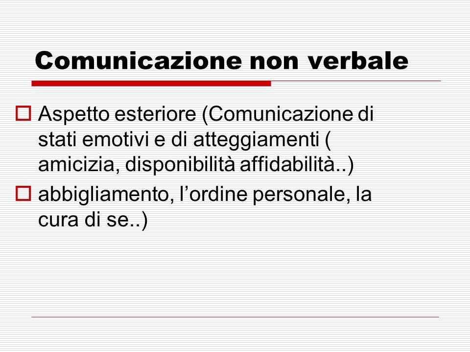 Comunicazione non verbale Aspetto esteriore (Comunicazione di stati emotivi e di atteggiamenti ( amicizia, disponibilità affidabilità..) abbigliamento