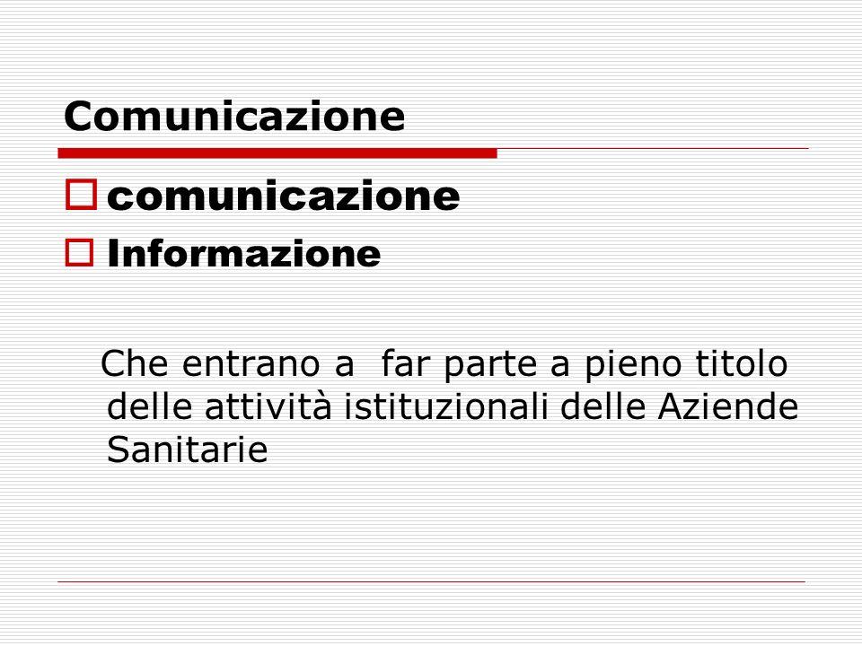 Comunicazione comunicazione Informazione Che entrano a far parte a pieno titolo delle attività istituzionali delle Aziende Sanitarie