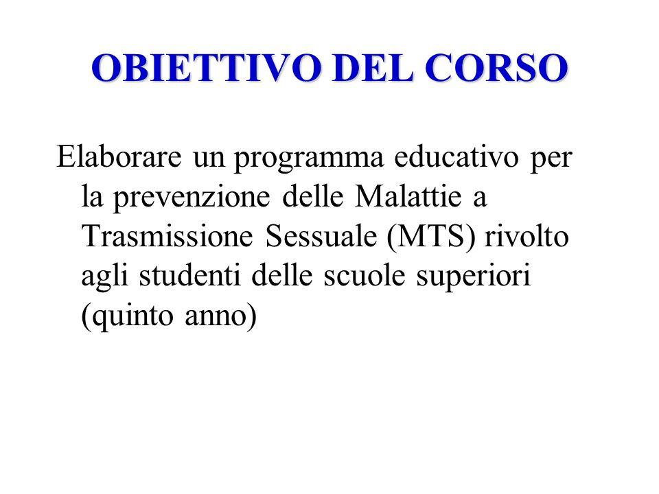OBIETTIVO DEL CORSO Elaborare un programma educativo per la prevenzione delle Malattie a Trasmissione Sessuale (MTS) rivolto agli studenti delle scuole superiori (quinto anno)