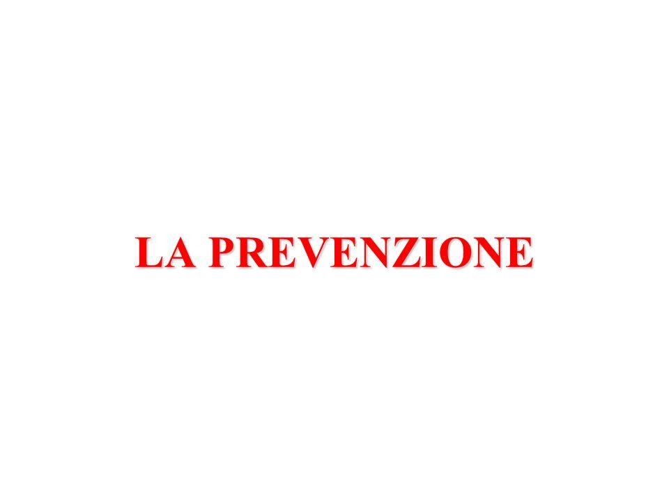 SOGGETTOSANOMALATTIAASINTOMATICADECORSOCLINICO ESITO SINTOMOINSORGENZABIOLOGICAPREVENZIONETERZIARIA (riduzione complicanze) PREVENZIONEPRIMORDIALE/PRIMARIA (rimozione fattori di rischio) PREVENZIONESECONDARIA (trattamento precoce) LIVELLI DI PREVENZIONE E STORIA NATURALE DELLA MALATTIA