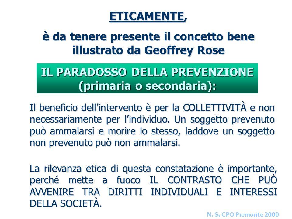 N. S. CPO Piemonte 2000 ETICAMENTE, è da tenere presente il concetto bene illustrato da Geoffrey Rose IL PARADOSSO DELLA PREVENZIONE (primaria o secon