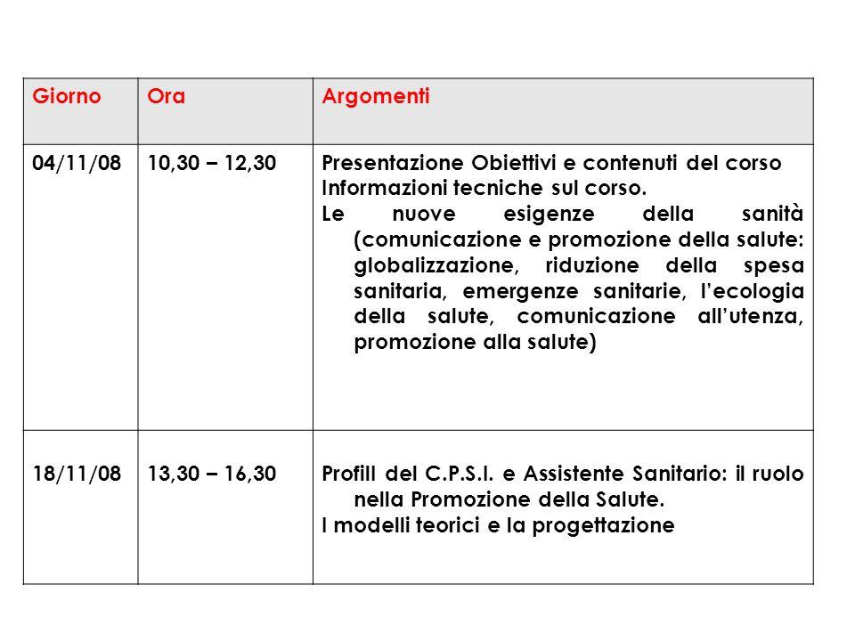 GiornoOraArgomenti 04/11/0810,30 – 12,30Presentazione Obiettivi e contenuti del corso Informazioni tecniche sul corso.