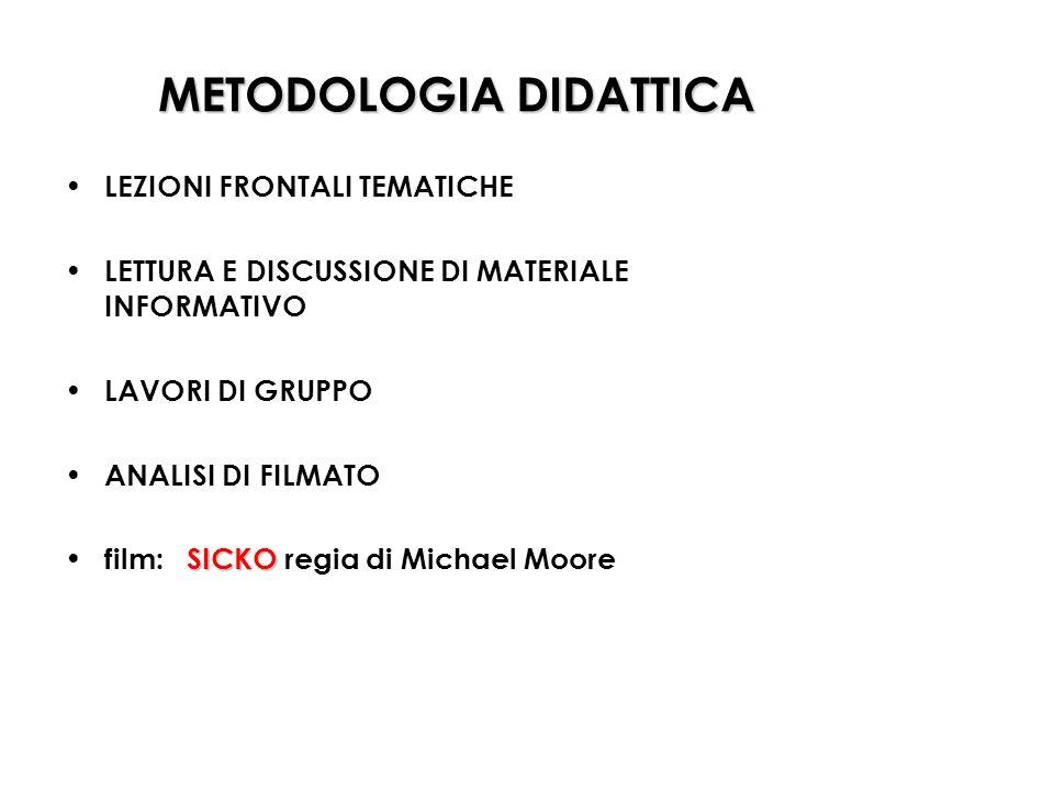 METODOLOGIA DIDATTICA LEZIONI FRONTALI TEMATICHE LETTURA E DISCUSSIONE DI MATERIALE INFORMATIVO LAVORI DI GRUPPO ANALISI DI FILMATO SICKO film: SICKO regia di Michael Moore