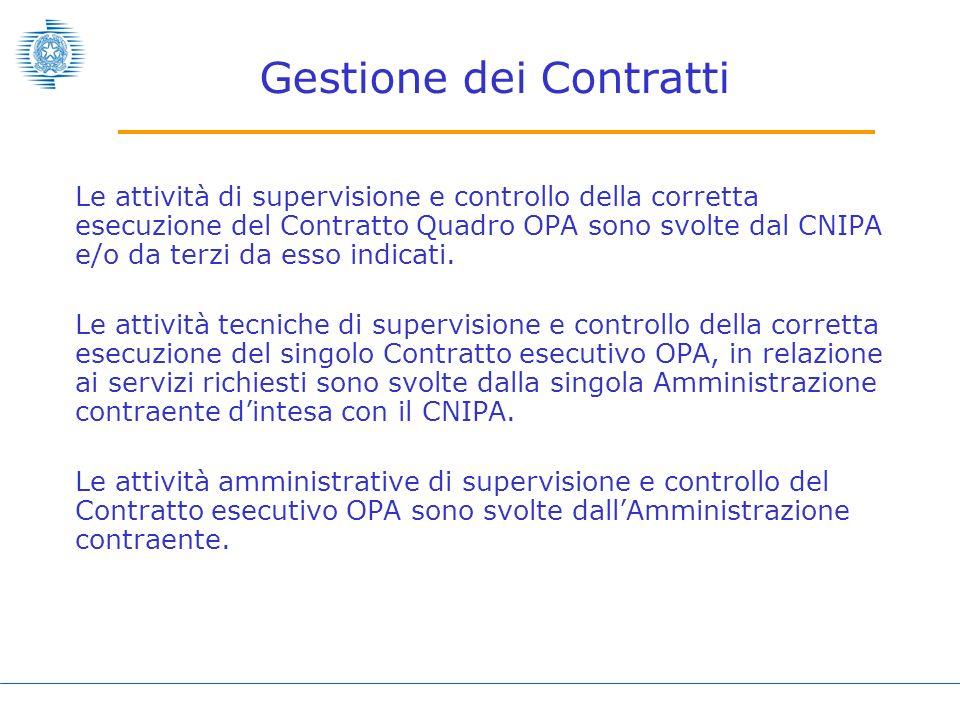 Gestione dei Contratti Le attività di supervisione e controllo della corretta esecuzione del Contratto Quadro OPA sono svolte dal CNIPA e/o da terzi da esso indicati.