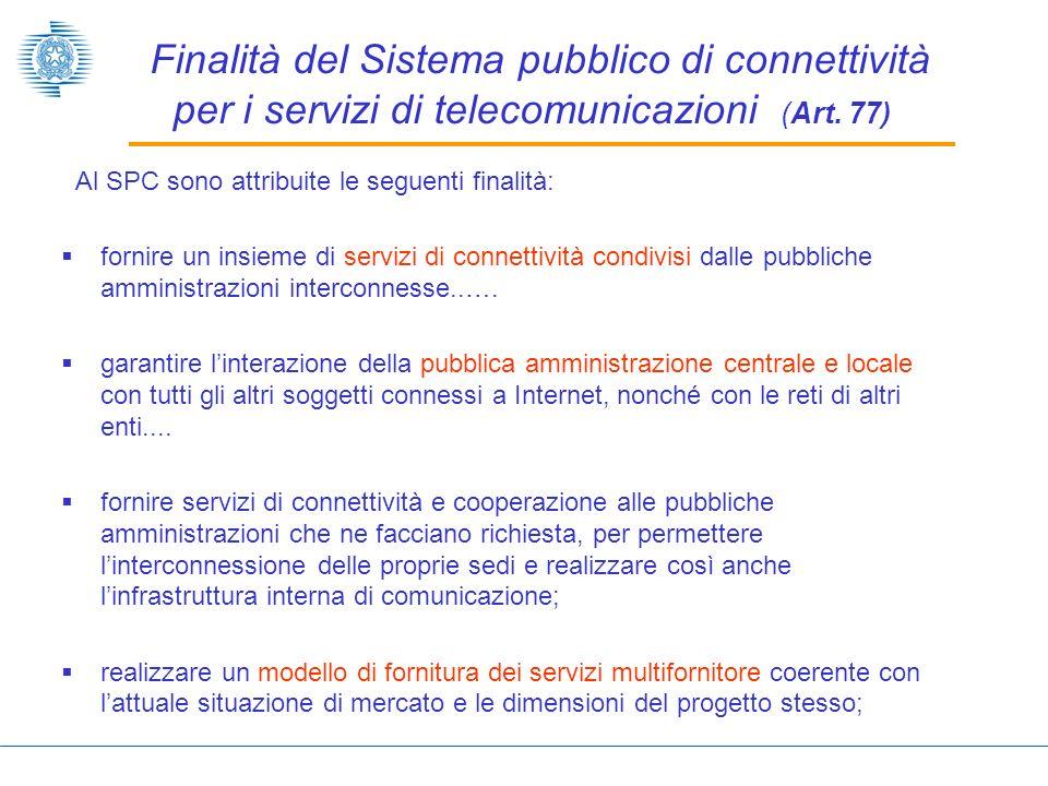 Finalità del Sistema pubblico di connettività per i servizi di telecomunicazioni (Art.