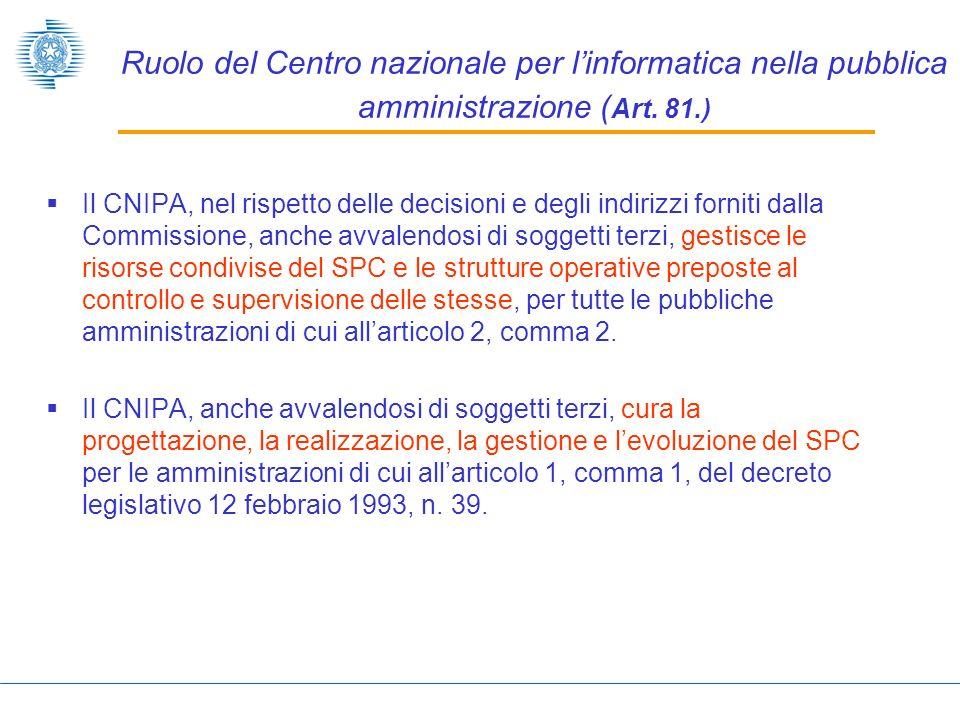 Ruolo del Centro nazionale per linformatica nella pubblica amministrazione ( Art.