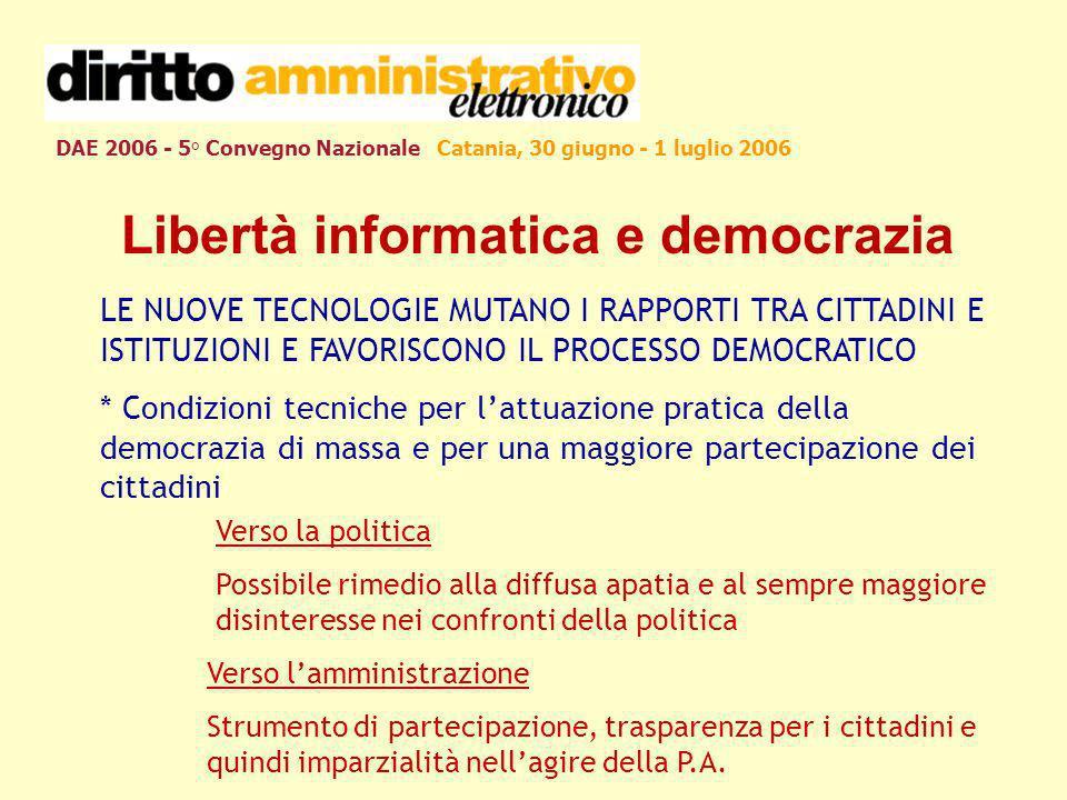 DAE 2006 - 5° Convegno Nazionale Catania, 30 giugno - 1 luglio 2006 Libertà informatica e democrazia LE NUOVE TECNOLOGIE MUTANO I RAPPORTI TRA CITTADI