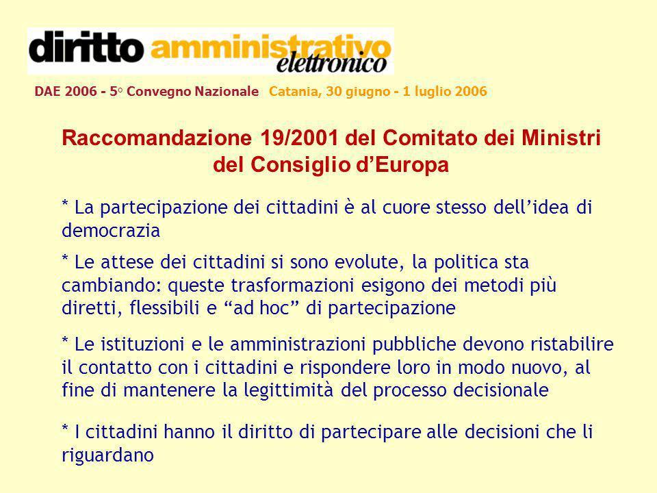 DAE 2006 - 5° Convegno Nazionale Catania, 30 giugno - 1 luglio 2006 Raccomandazione 19/2001 del Comitato dei Ministri del Consiglio dEuropa * La parte