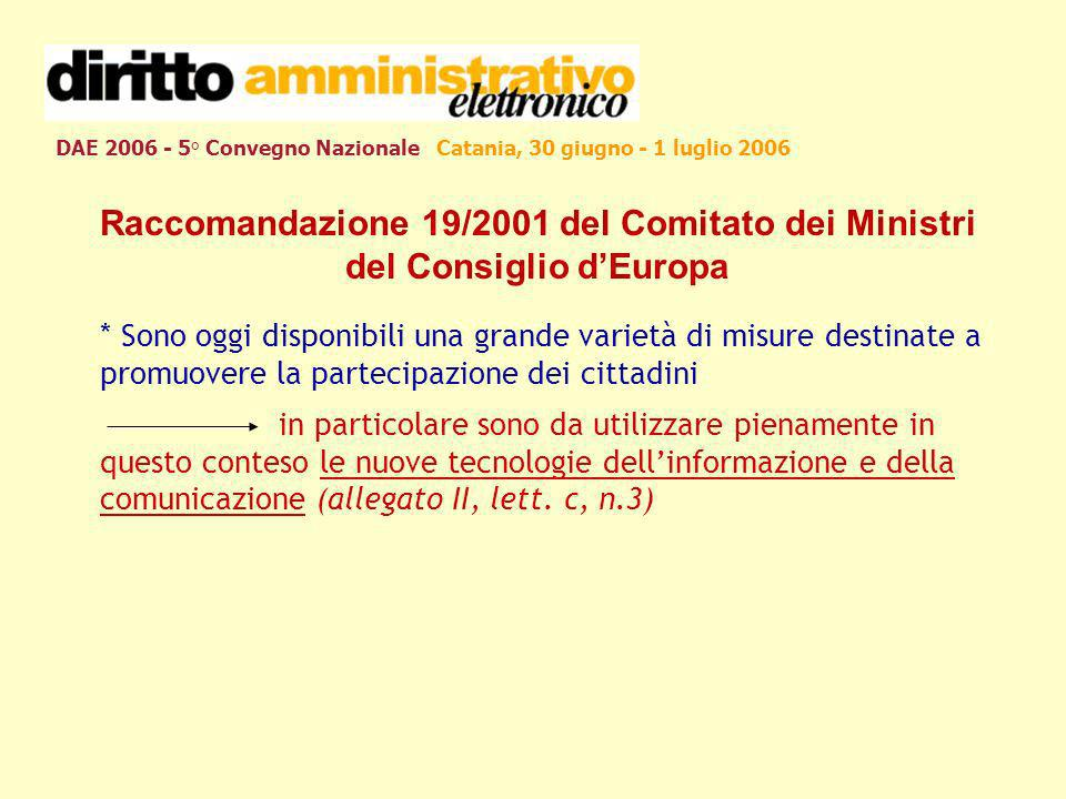 DAE 2006 - 5° Convegno Nazionale Catania, 30 giugno - 1 luglio 2006 Raccomandazione 19/2001 del Comitato dei Ministri del Consiglio dEuropa * Sono ogg