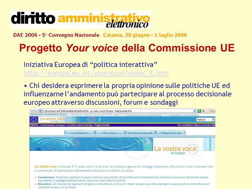 DAE 2006 - 5° Convegno Nazionale Catania, 30 giugno - 1 luglio 2006 Progetto Your voice della Commissione UE Iniziativa Europea di politica interattiv