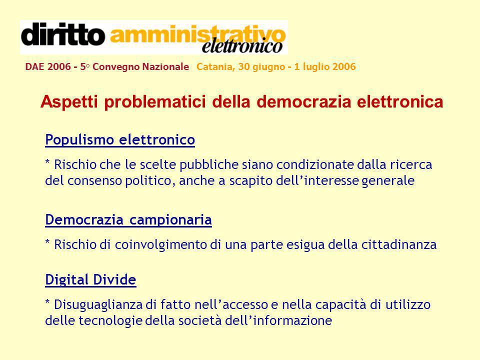 DAE 2006 - 5° Convegno Nazionale Catania, 30 giugno - 1 luglio 2006 Aspetti problematici della democrazia elettronica Populismo elettronico * Rischio