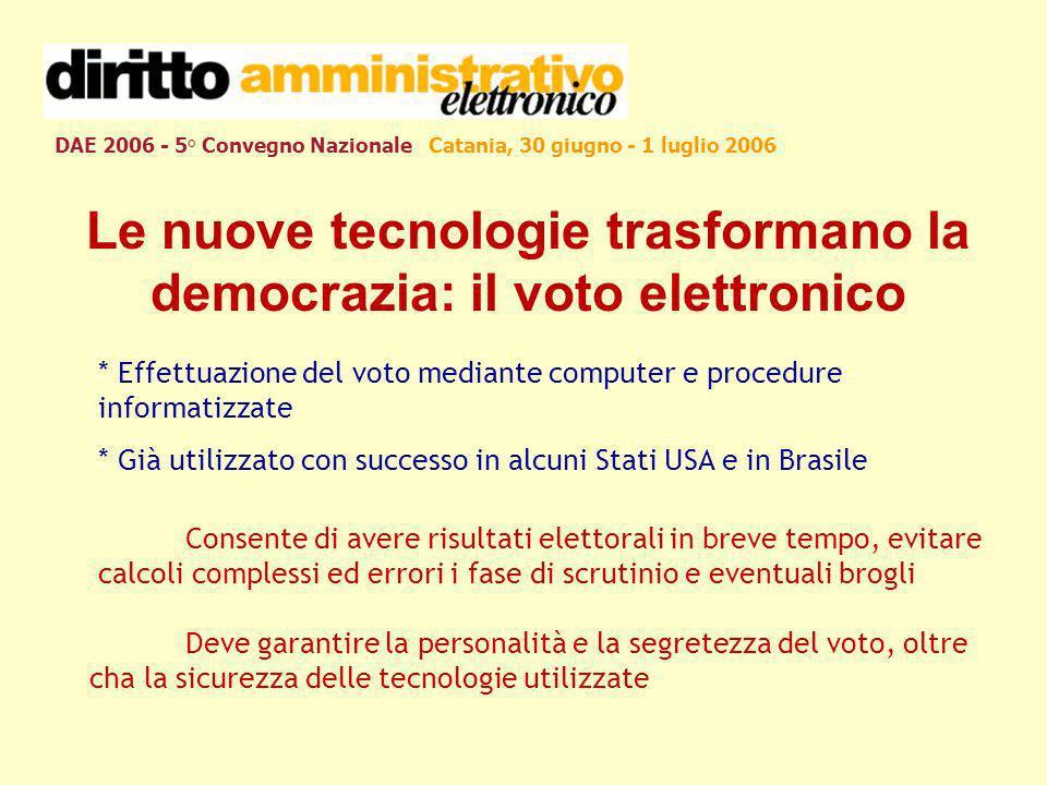 DAE 2006 - 5° Convegno Nazionale Catania, 30 giugno - 1 luglio 2006 Le nuove tecnologie trasformano la democrazia: il voto elettronico * Effettuazione