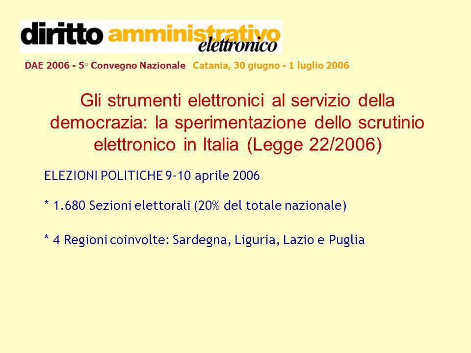 DAE 2006 - 5° Convegno Nazionale Catania, 30 giugno - 1 luglio 2006 Gli strumenti elettronici al servizio della democrazia: la sperimentazione dello scrutinio elettronico in Italia (Legge 22/2006) ELEZIONI POLITICHE 9-10 aprile 2006 * 1.680 Sezioni elettorali (20% del totale nazionale) * 4 Regioni coinvolte: Sardegna, Liguria, Lazio e Puglia