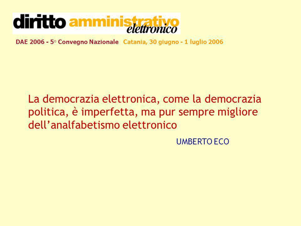 DAE 2006 - 5° Convegno Nazionale Catania, 30 giugno - 1 luglio 2006 La democrazia elettronica, come la democrazia politica, è imperfetta, ma pur sempr