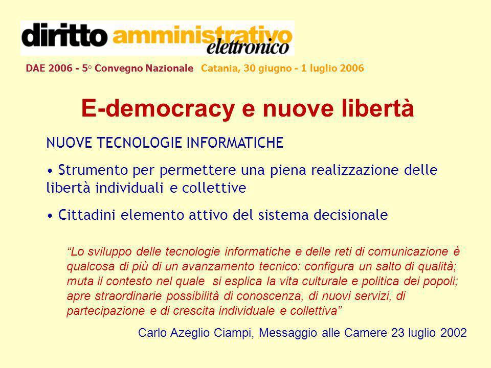 DAE 2006 - 5° Convegno Nazionale Catania, 30 giugno - 1 luglio 2006 E-democracy e nuove libertà NUOVE TECNOLOGIE INFORMATICHE Strumento per permettere