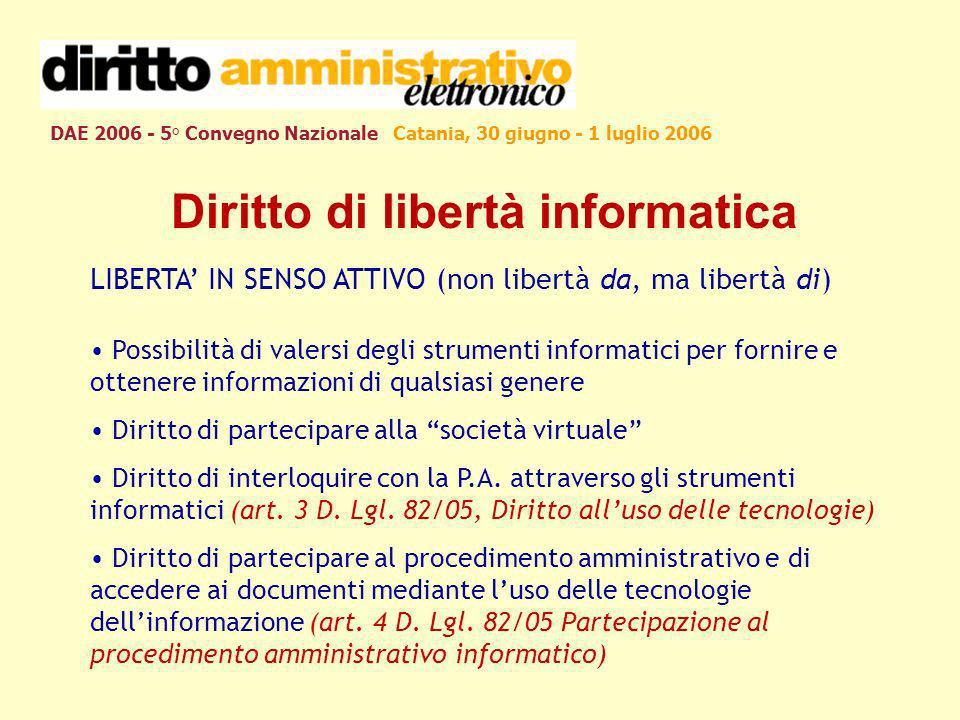 DAE 2006 - 5° Convegno Nazionale Catania, 30 giugno - 1 luglio 2006 Diritto di libertà informatica LIBERTA IN SENSO ATTIVO (non libertà da, ma libertà