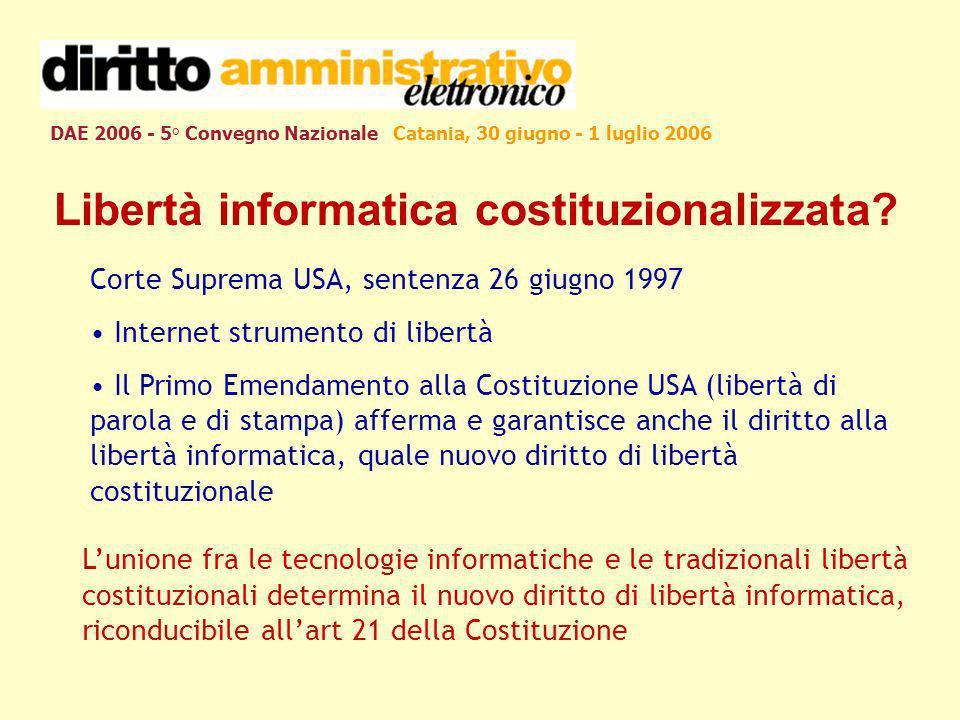 DAE 2006 - 5° Convegno Nazionale Catania, 30 giugno - 1 luglio 2006 Libertà informatica costituzionalizzata? Corte Suprema USA, sentenza 26 giugno 199