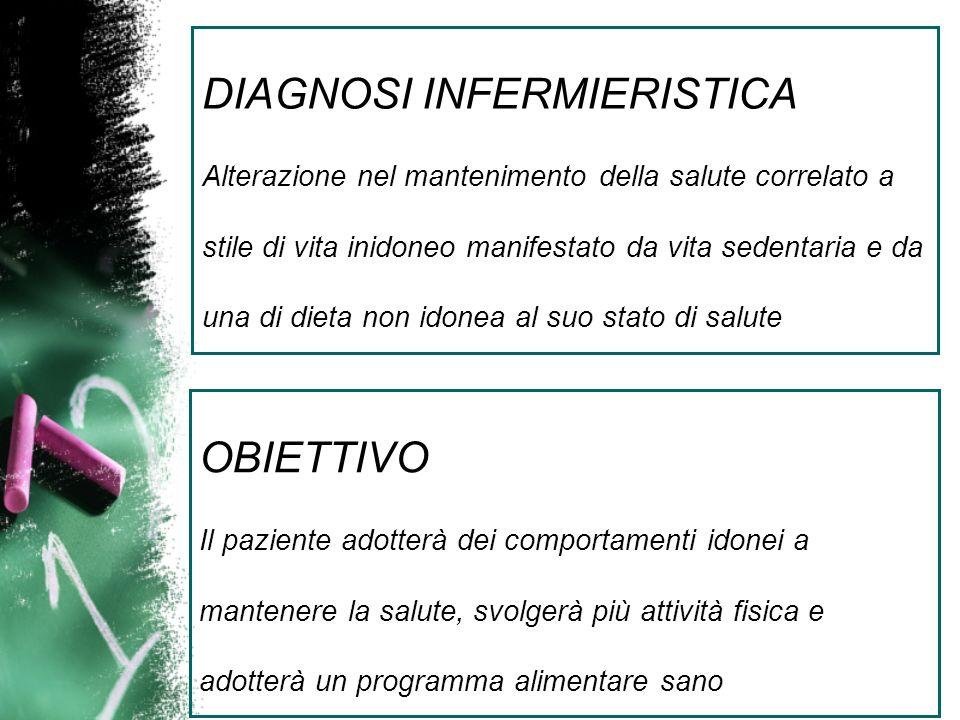 DIAGNOSI INFERMIERISTICA Alterazione nel mantenimento della salute correlato a stile di vita inidoneo manifestato da vita sedentaria e da una di dieta