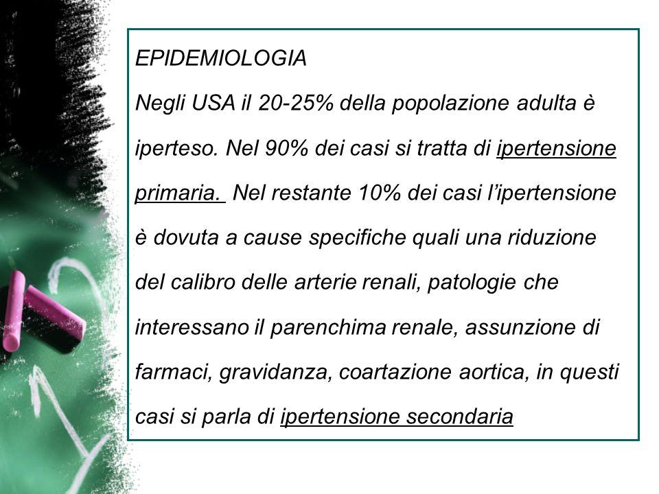 EPIDEMIOLOGIA Negli USA il 20-25% della popolazione adulta è iperteso. Nel 90% dei casi si tratta di ipertensione primaria. Nel restante 10% dei casi
