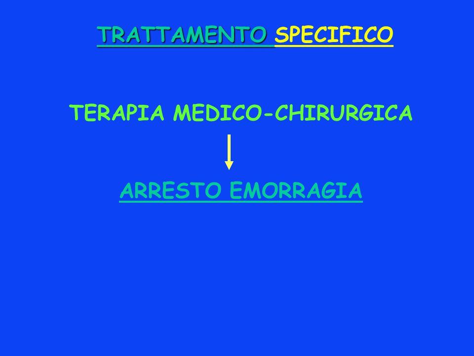 TRATTAMENTO TRATTAMENTO SPECIFICO TERAPIA MEDICO-CHIRURGICA ARRESTO EMORRAGIA