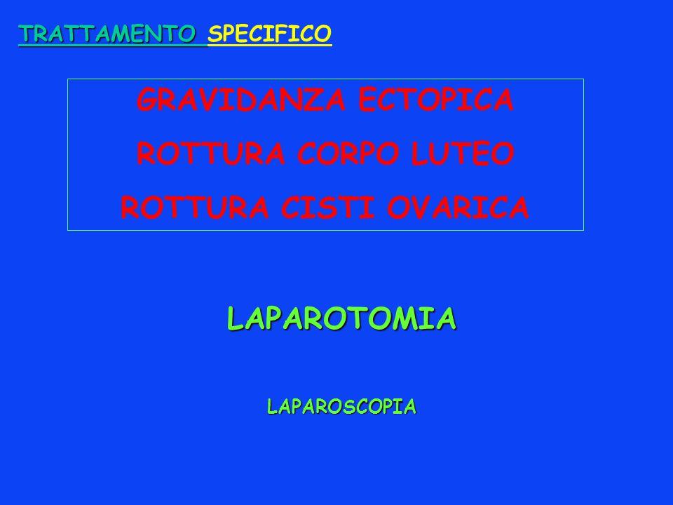 TRATTAMENTO TRATTAMENTO SPECIFICO GRAVIDANZA ECTOPICA ROTTURA CORPO LUTEO ROTTURA CISTI OVARICA LAPAROTOMIA LAPAROSCOPIA