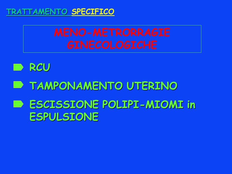 TRATTAMENTO TRATTAMENTO SPECIFICO MENO-METRORRAGIE GINECOLOGICHE RCU TAMPONAMENTO UTERINO ESCISSIONE POLIPI-MIOMI in ESPULSIONE