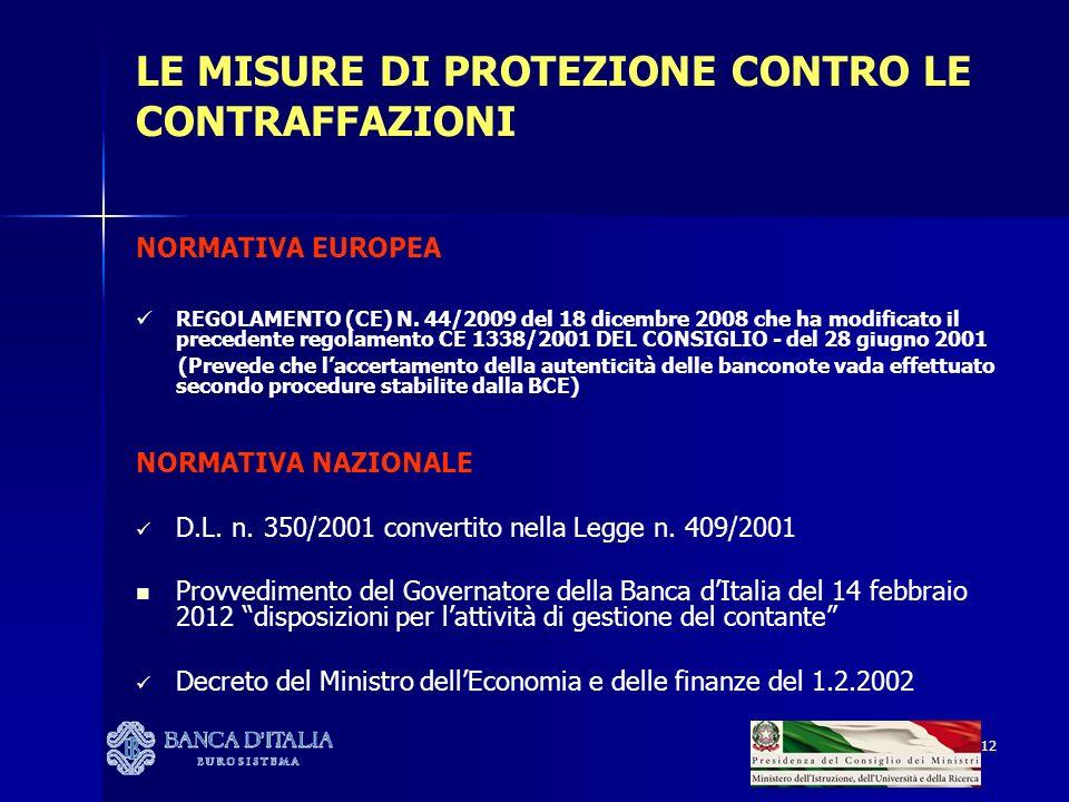 12 LE MISURE DI PROTEZIONE CONTRO LE CONTRAFFAZIONI NORMATIVA EUROPEA REGOLAMENTO (CE) N. 44/2009 del 18 dicembre 2008 che ha modificato il precedente