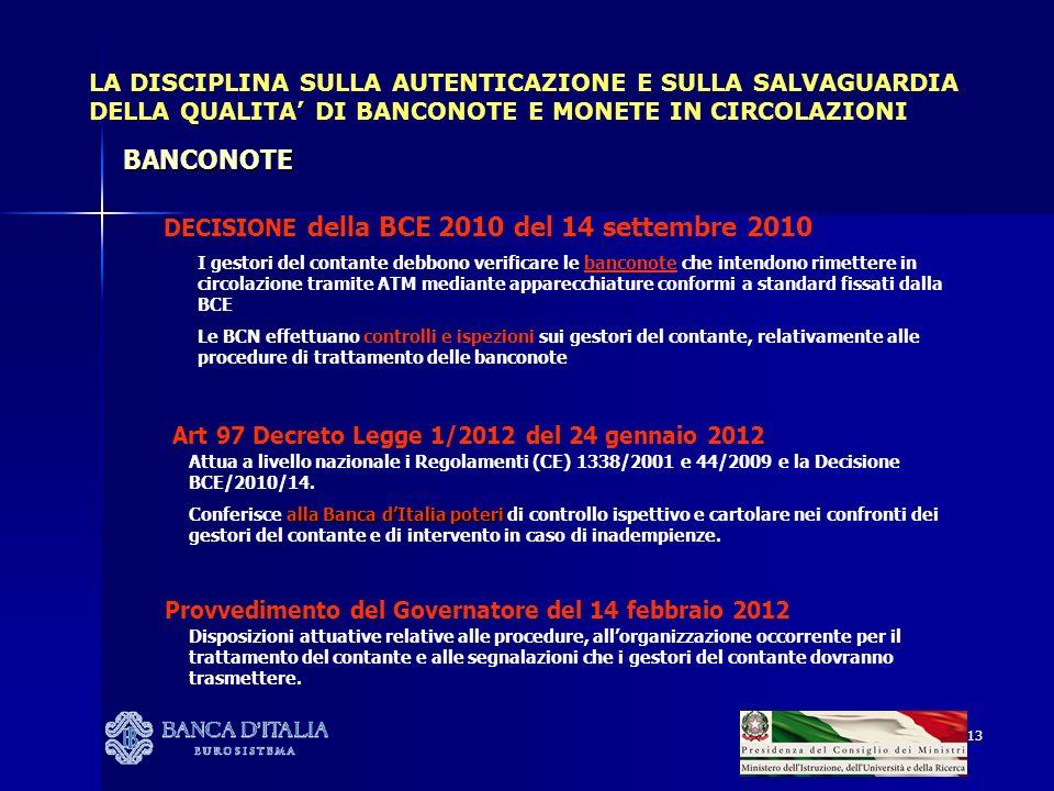 13 LA DISCIPLINA SULLA AUTENTICAZIONE E SULLA SALVAGUARDIA DELLA QUALITA DI BANCONOTE E MONETE IN CIRCOLAZIONI DECISIONE della BCE 2010 del 14 settemb