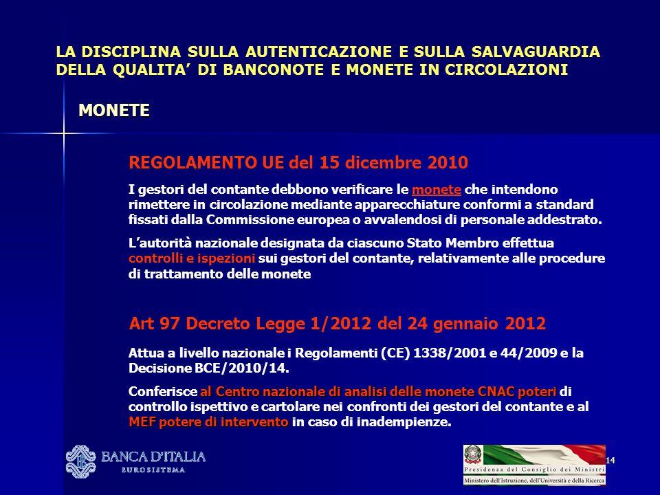 14 LA DISCIPLINA SULLA AUTENTICAZIONE E SULLA SALVAGUARDIA DELLA QUALITA DI BANCONOTE E MONETE IN CIRCOLAZIONI REGOLAMENTO UE del 15 dicembre 2010 I gestori del contante debbono verificare le monete che intendono rimettere in circolazione mediante apparecchiature conformi a standard fissati dalla Commissione europea o avvalendosi di personale addestrato.
