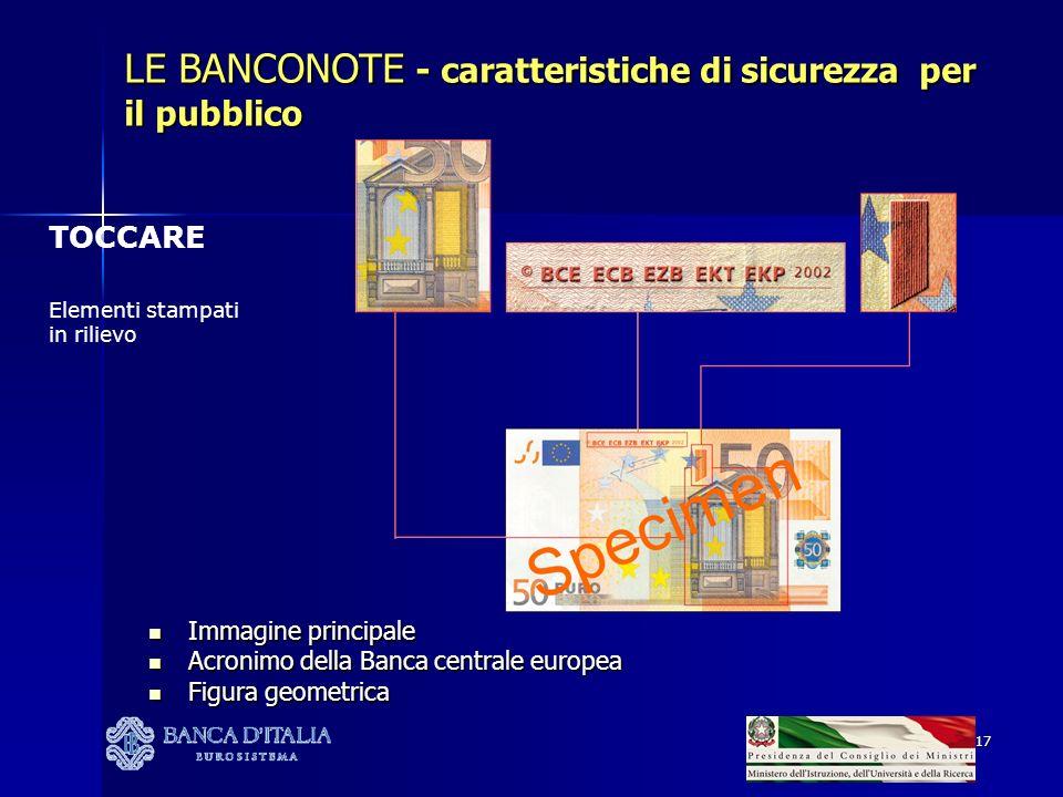 17 TOCCARE Elementi stampati in rilievo LE BANCONOTE - caratteristiche di sicurezza per il pubblico Immagine principale Immagine principale Acronimo della Banca centrale europea Acronimo della Banca centrale europea Figura geometrica Figura geometrica
