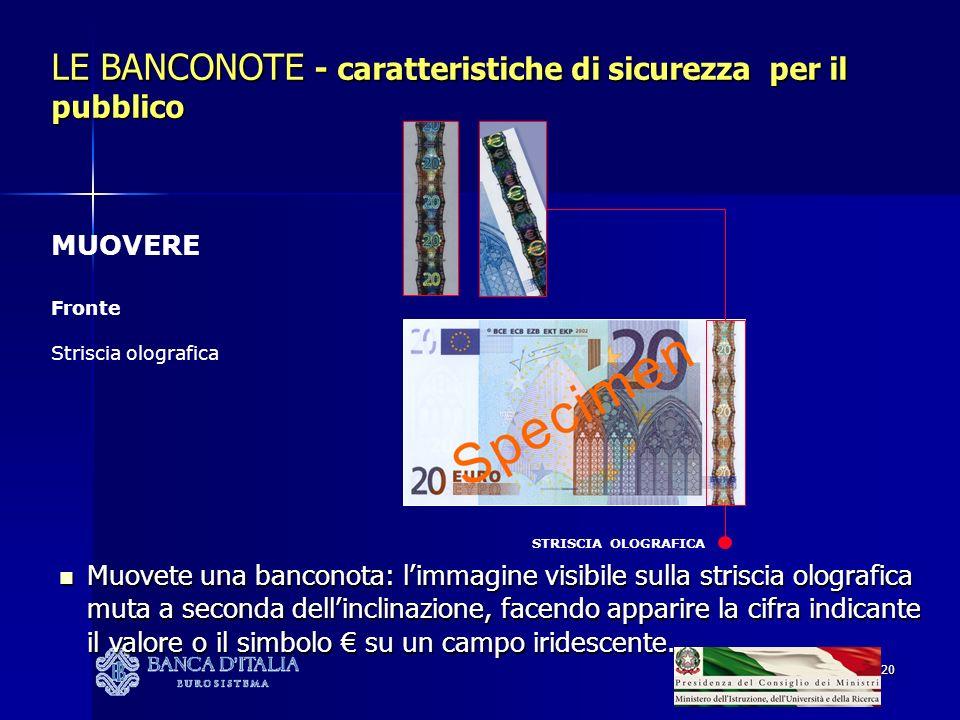 20 STRISCIA OLOGRAFICA LE BANCONOTE - caratteristiche di sicurezza per il pubblico MUOVERE Fronte Striscia olografica Muovete una banconota: limmagine