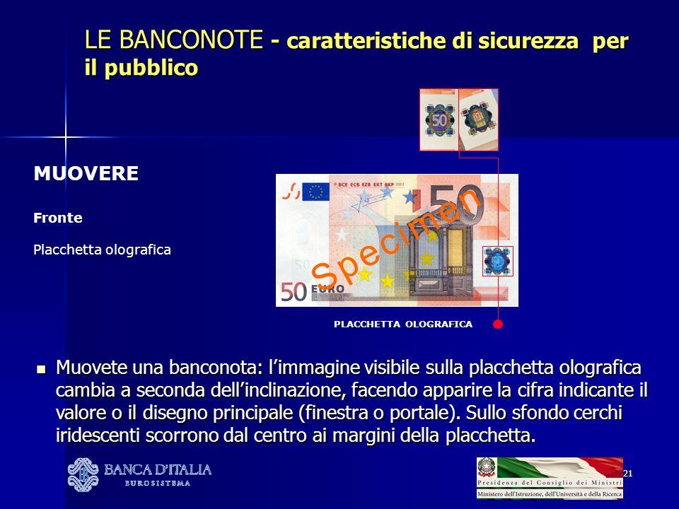 21 PLACCHETTA OLOGRAFICA LE BANCONOTE - caratteristiche di sicurezza per il pubblico MUOVERE Fronte Placchetta olografica Muovete una banconota: limma